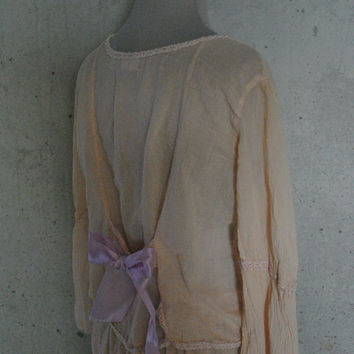 Romantic Tan Lace Top with Lavedar Embroidery and Satin Ribbon Bow
