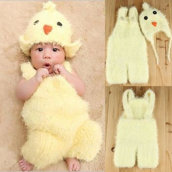 Puseky 2017 New Newborn Baby Photography Prop Infant Kids Lovely Chicken Hat+Suspenders 2pcs/Set Photography Soft Warm Sweater