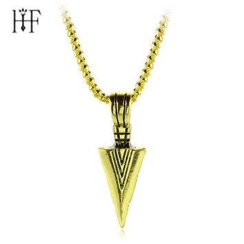 Striking Mens Necklaces metal Vintage Spearhead Arrowhead Pendant Necklace for Men Special Surf Bike Chocker Jewelry Free ship