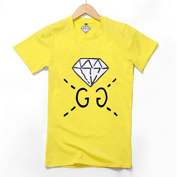 GUCCI spring and summer new catwalk custom models men's diamond GC short sleeve t-shirt youth shirt Autumn yellow