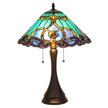 "CHLOE Lighting KEEGAN Tiffany-style 2 Light Victorian Table Lamp 16"" Shade"