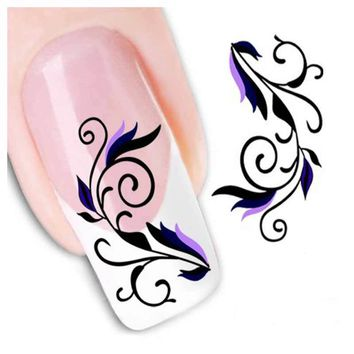 1Pcs Flower Design Nails Art Sticker Water Transfer Decals Nail Stickers Foil Sticker Manicure Nail Decorations Stencil Tools
