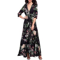 SHIPS FROM USA Summer dress Women Boho party dresses Floral v-neck sexy Long Maxi beach dress