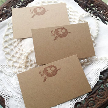 Bird Nest Place Cards Food Buffet Label Tags Set of 10