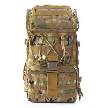 Outdoor Sports Hiking Camping Bag 45L Large Capacity (Waterproof , Camouflage   Mountain Bag for Men)