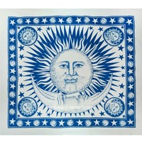 Large Fringed Patterned Sun Moon Cotton Tapestry - RoyalFurnish.com
