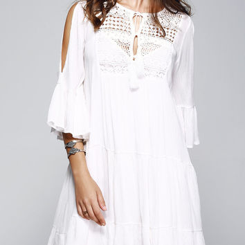 Crochet Front Tiered Bell Sleeve White Dress With Cami Dress