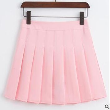 High Waist Pleated Skater Skirt