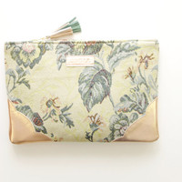 GRACE 2 / Tapestry & Leather clutch - Ready to Ship