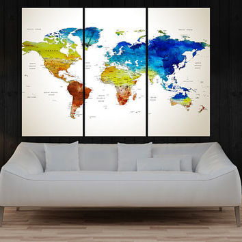 extra large wall art push pin world map wall art print, Modern wall decal, interior design home decor No:10S26