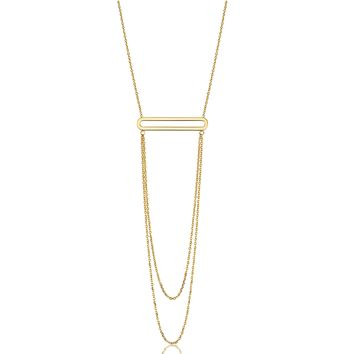 """14K Yellow Gold Oval Bar Pendant With Layered Chain 18"""" Necklace"""