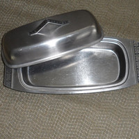 1960s to 1970s Vintage Rectangular STAINLESS STEEL BUTTER Dish/Stamped Butterfly Design/Pinched Butterfly Design Handle/Covered Butter Dish