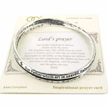 Lord's Prayer Twist Bangle Bracelet Faith Believe Love of God Holiday Gift