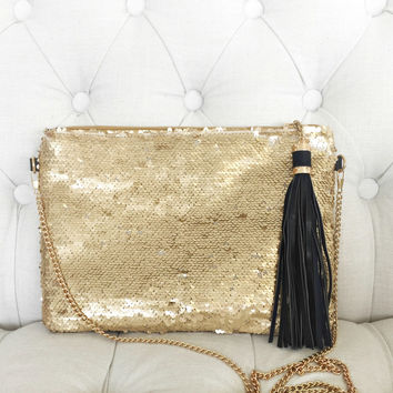 Samantha Gold Sequins Bag