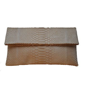 ALLEGRA LONDON Beige Hand-Crafted Python Leather Envelope Clutch