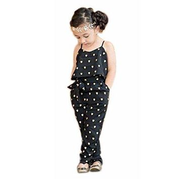 2017 Hot Fashion Toddlers Children Girls Love Heart Straps Jumpsuits by FEITONG (5T(4-5Y), Black)