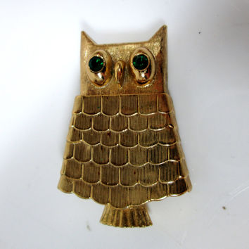 Vintage Owl Brooch and Perfume Holder Gold-tone by Avon