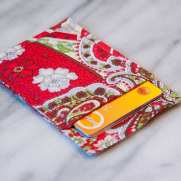 Red Paisley wallet, Business card holder, Minimalist card case, Thin wallet, Slim card wallet, Card Case, Card Sleeve, Front pocket, OOAK