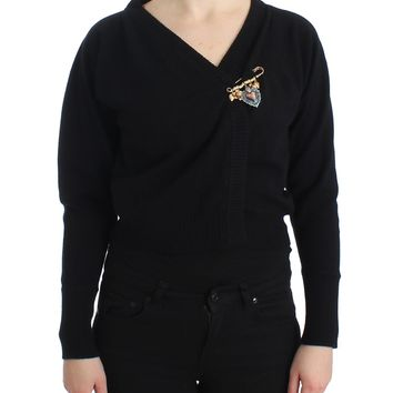 Black Cashmere Wrap Sweater Cardigan Brooch Top
