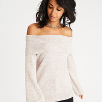 AEO Off-the-Shoulder Puff Sleeve Sweater, Oatmeal