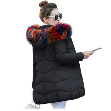 Fake Fox Fur Collar Wadded Clothing Female Winter Coat 2017 New Women's Winter Jacket Cotton Jacket Parkas Ladies Coats XS-3XL