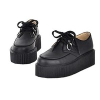 Zeagoo® High Platform Creepers Punk Goth Women Flat Shoes Lace UP Studded Fashion