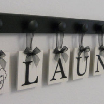 Laundry Room Wall Decor includes Wooden 9 Hook Hangers and LAUNDRY, Washboard and Bucket Painted Black and White