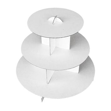 Deco4Fun 3-Tier White Round Cardboard Cupcake Stand Dessert Tower Treat Stacked Pastry Serving Platter Food Display (Pkg of 1)