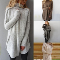 Women Fashion Autumn and Winter Casual Gray Irregular Pullover Turtleneck Sweater Light grey