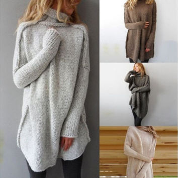 Autumn and Winter Fashion Women Casual Irregular Pullover Turtleneck Sweater +Free Gift Necklace