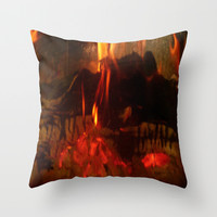 Fire Burning Logs Throw Pillow by Deluxephotos
