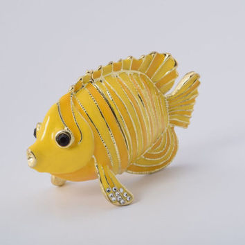 Yellow Fish Faberge Styled Trinket Box Decorated with Swarovski Crystals Handmade by Keren Kopal