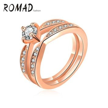 2017 Romad Rose Gold Color Ring Set Fashion Wedding Engagement Ring Set Jewelry For Women With AAA CZ Christmas Gifts