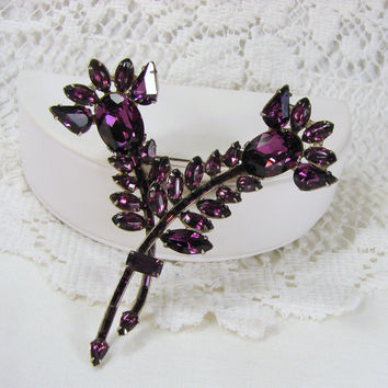 Vintage 1930's Amethyst Purple Rhinestone Thistle Brooch Scottish Wedding Bridal Jewelry Floral Dress Pin Mary Queen Of Scots Reign Bride