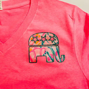 Short Sleeve Glittered Republican Elephant Lilly Pulitzer Top
