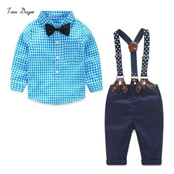 Autumn baby boy clothes baby clothing suit gentleman Style bow tie + plaid shirt + Bib baby boy clothing set free shipping