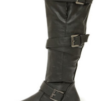 Bamboo Jagger 06A Black Buckled Knee High Boots