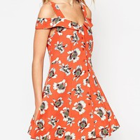 ASOS 70's Dress with Cold Shoulder and Button Front in Floral