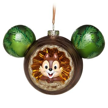 Disney Parks Chip 'n Dale Glass Mickey Icon Ornament New with Tags