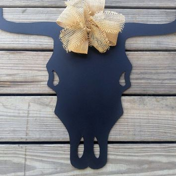 Cow skull, wall hanging, metal wall art, cow skull, rustic decor, metal cow sign, steel skull, barn decor, western decor, cowboy decor, cow