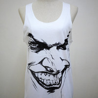 The Joker (Size M) : The Comedy Villain Man T-shirt Tank top Tunic Unisex Shirt Vest Women Sleeveless men Singlet White T-Shirt