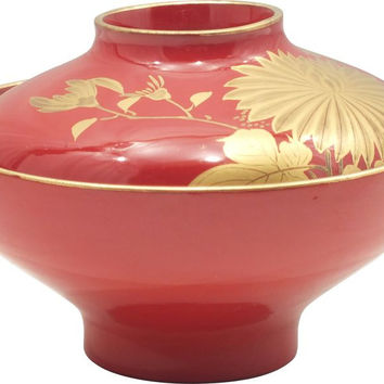 FINE JAPANESE LACQUERED COVERED BOWL
