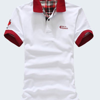 Color Block Plaid Short Sleeves Polo T-Shirt