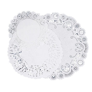 "pacon corporation paper doilies, assorted sizes 4""/6""/8"", 30/pk, white Case of 6"