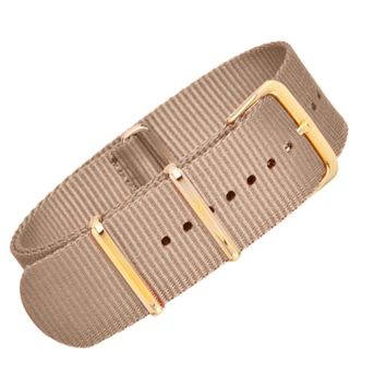 22mm Brown Nylon NATO - Gold Buckle