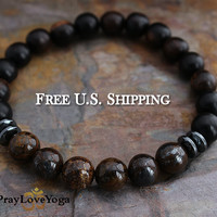 Mens Bracelet, Bronzite Ebony Wood Hematite Mens Beaded Bracelet Gift for Man Gift for Dad, Bronzite Jewelry Yoga Bracelet
