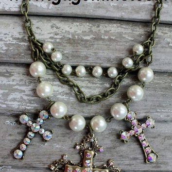 Pink Panache Pearl and Gold Cross Necklace