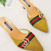 GUCCI New fashion high heels summer pointed sandals Yellow