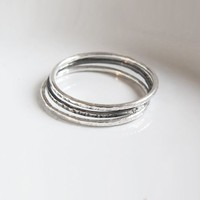Set of 3 Super Thin Hammerd Silver Stacking Rings by Sirrý Design