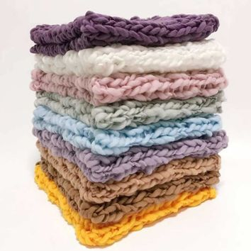 Wool Crochet Baby Blanket Newborn Photography Props,Chunky Knit Blanket Basket Filler 10 colors,#P1010